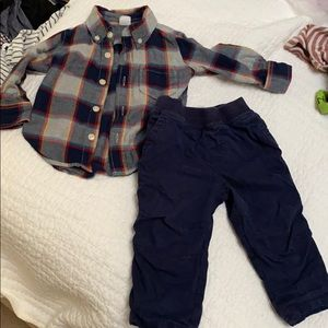 Yes collection navy pants & baby gap plaid flannel